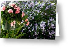 Geranium And Lilac Painting Greeting Card by Will Borden