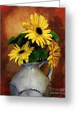 Gerber Yellow Daisies Greeting Card by Marsha Heiken