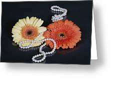 gerberas with pearls Greeting Card by Joana Kruse