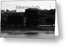 Ghirardelli Square In Black And White Greeting Card by Linda Woods