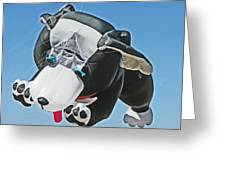 Giant Black and White Dog Kite 1 Greeting Card by Samuel Sheats