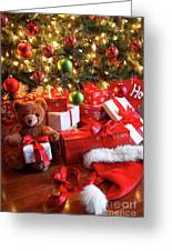 Gifts Under The Tree For Christmas Greeting Card by Sandra Cunningham