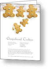 Gingerbread Men Cookies Against Cookie Receipe Greeting Card by Sandra Cunningham