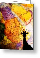 Giraffe Silhouette With Map Background Greeting Card by Chris Knorr
