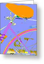 Girl Bicycle Pop Art Greeting Card by ArtyZen Studios