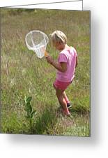 Girl Collecting Insects In A Meadow Greeting Card by Ted Kinsman