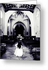 Girl In The Church Greeting Card by Jenny Rainbow