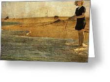 Girl On A Shore Greeting Card by Paul Grand