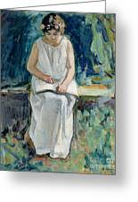 Girl Reading Greeting Card by Henri Lebasque