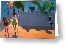 Girl Skipping Greeting Card by Andrew Macara