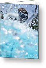 Girl Splashing Water In Swimming Pool Greeting Card by Sami Sarkis