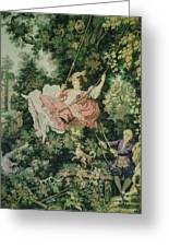 Girl Swinging Tapestry Greeting Card by Unique Consignment
