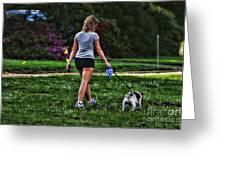 Girl Walking Dog Greeting Card by Paul Ward