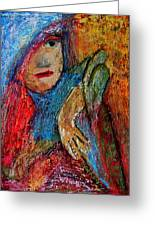 Girl With A Green Parrot  Greeting Card by Tammy Cantrell