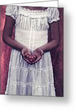 Girl With A Heart Greeting Card by Joana Kruse