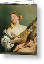 Girl With A Mandolin Greeting Card by Giovanni Battista Tiepolo