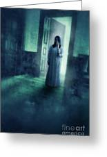 Girl With Candle In Doorway Greeting Card by Jill Battaglia