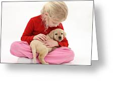 Girl With Puppy Greeting Card by Mark Taylor