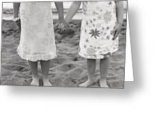 Girls Holding Hand On Beach Greeting Card by Michelle Quance