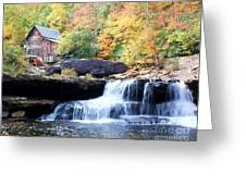 Glade Creek Grist Mill Greeting Card by Laurinda Bowling