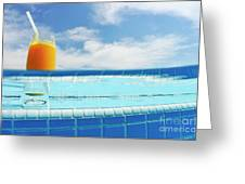Glass Of Orange Juice On Pool Ledge Greeting Card by Sami Sarkis