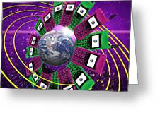 Global Communication Greeting Card by Victor Habbick Visions