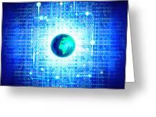 Globe With Technology Background Greeting Card by Setsiri Silapasuwanchai