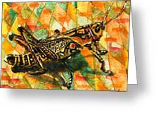 Glorious Grasshopper Greeting Card by Miriam  Schulman