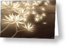Glowing Flower Fractals Greeting Card by Yvon van der Wijk