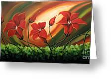 Glowing Flowers 4 Greeting Card by Uma Devi