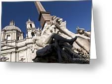 God Of The River Ganges. Fontana Dei Quattro Fiumi. Piazza Navona. Rome Greeting Card by Bernard Jaubert