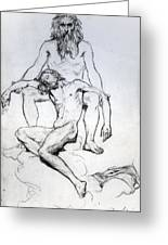 God The Father And God The Son Greeting Card by Henri Lehmann
