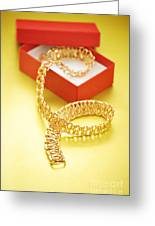 Gold Necklace Greeting Card by HD Connelly