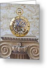Gold Skeleton Pocket Watch Greeting Card by Garry Gay
