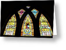 Gold Stained Glass Window Greeting Card by Thomas Woolworth