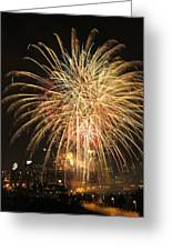 Golden Fireworks Over Minneapolis Greeting Card by Heidi Hermes