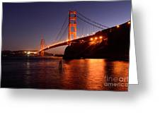 Golden Gate Bridge At Night 2 Greeting Card by Bob Christopher