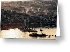Golden Haze In Istanbul Greeting Card by John Rizzuto