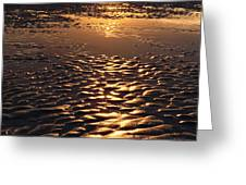 golden sunset on the sand beach Greeting Card by Setsiri Silapasuwanchai