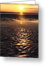 Golden Sunset On The Sand Beach Greeting Card by Setsiri Silapasuwanchai