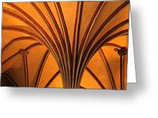 Golden Vaulted Ceiling In Malbork Castle II Greeting Card by Greg Matchick
