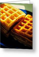 Golden Waffles Greeting Card by Rebecca Sherman
