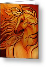 Golden Windblown Horse Greeting Card by Leni Tarleton