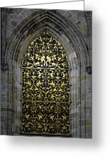 Golden Window - St Vitus Cathedral Prague Greeting Card by Christine Till