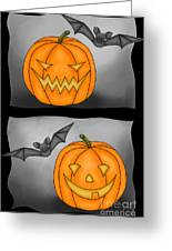 Good Pumpkin - Bad Pumpkin Greeting Card by Claudia Pflicke