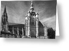 Gothic Saint Vitus Cathedral In Prague Greeting Card by Christine Till