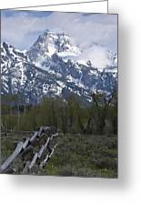 Grand Teton Fence Greeting Card by Charles Warren