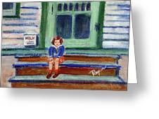 Grandma's Door Steps Greeting Card by Elzbieta Zemaitis
