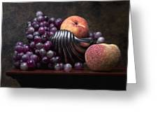 Grapes With Peaches Greeting Card by Tom Mc Nemar