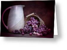 Grapes With Pitcher Still Life Greeting Card by Tom Mc Nemar